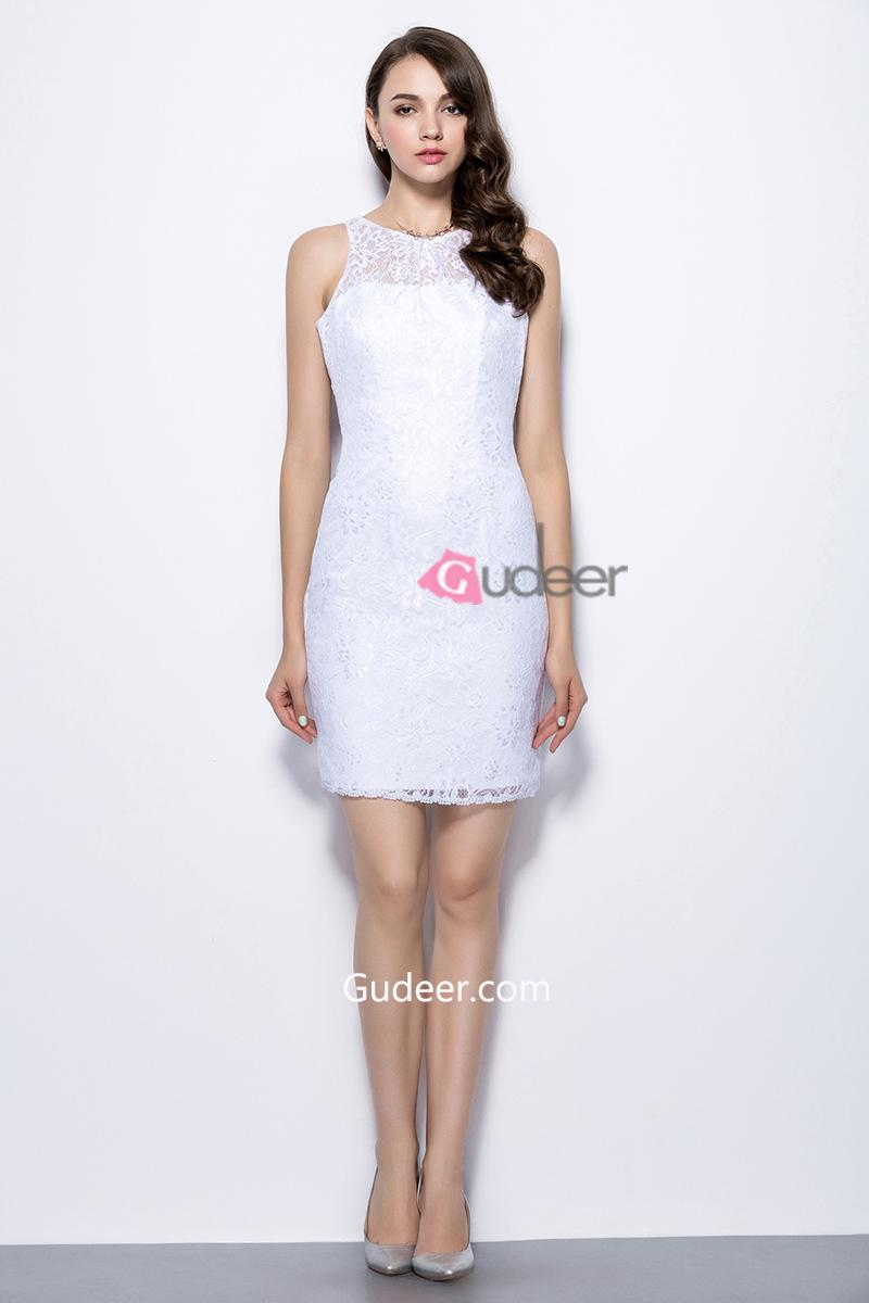 Wedding - Sleeveless Illusion Neck Short Pencil Skirt Lace Bridesmaid Dress