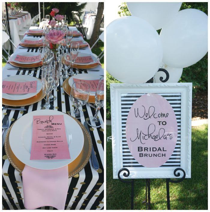 Black White Stripes With Pink Fls Bridal Wedding Shower Party Ideas