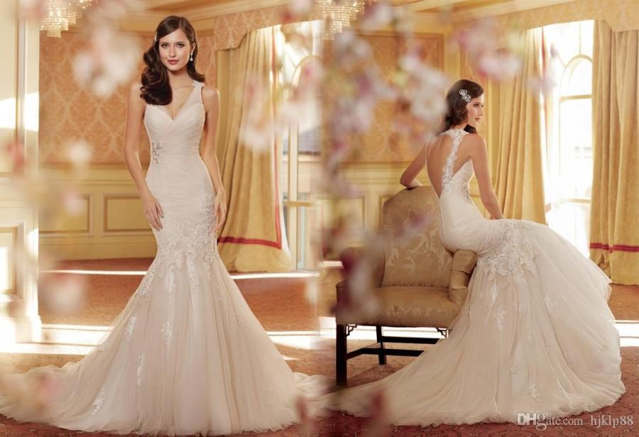 Backless Wedding Gowns: V-Neck Backless Mermaid Wedding Dresses Bridal Gowns Dress