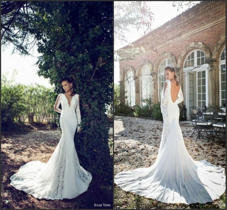 Wedding Dresses 2015 Deep V Neck Sexy Long Sleeve Lace And Chiffon Backless  Garden Mermaid Party Bridal Gowns Dress Designer By Julie Vino Online With  ...