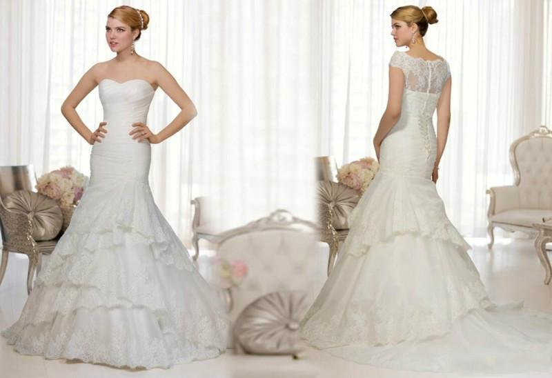 Hochzeit - Vintage 2015 Lace Wedding Dresses With Wrap Mermaid Tiers Pleated Sweetheart Chapel Train Exquisite Bridal Gowns Dress Lace Up Back Online with $129.95/Piece on Hjklp88's Store