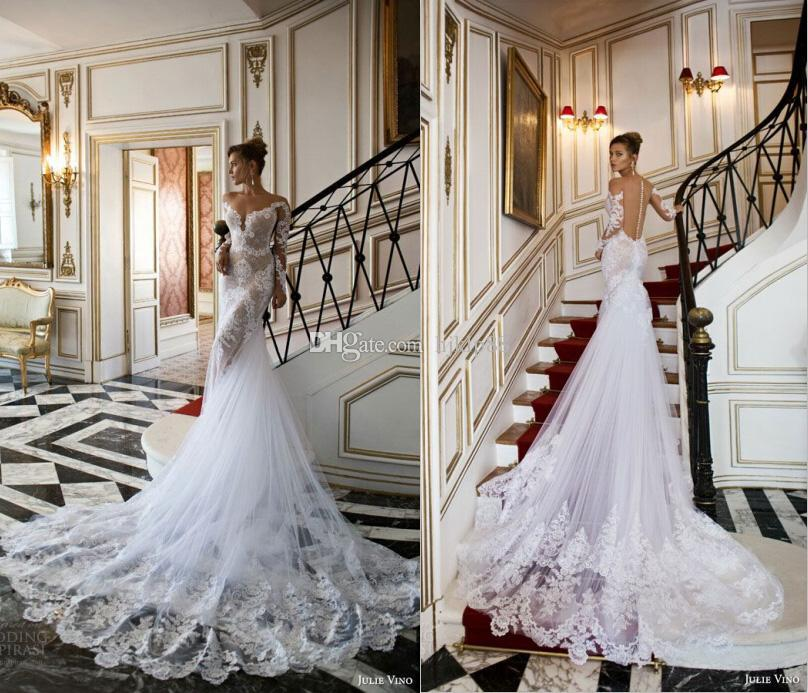 Boda - 2015 New Arrival Sexy Julie Vino Mermaid Wedding Dresses Applique Lace Backless Crew Neck Long Sleeve Garden Bridal Gowns Wedding Dress Online with $140.9/Piece on Hjklp88's Store