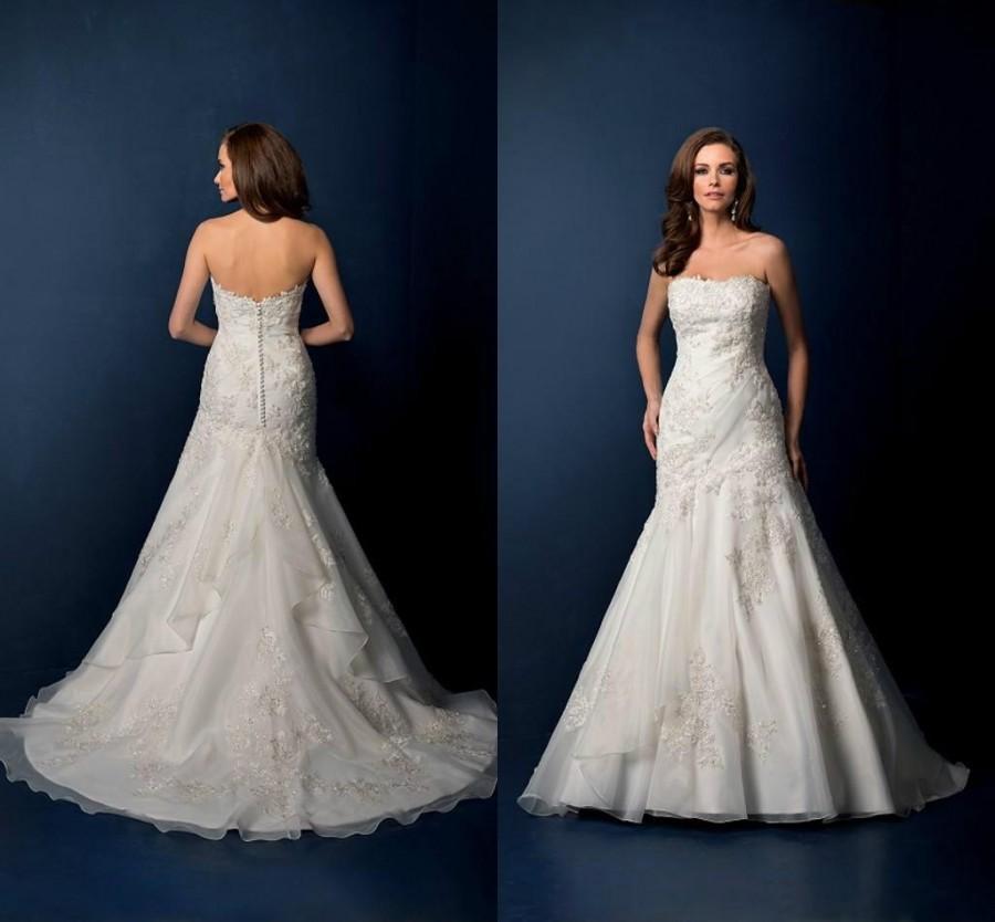 Vintage mermaid wedding dresses white strapless bateau new for Vintage wedding dresses online shop