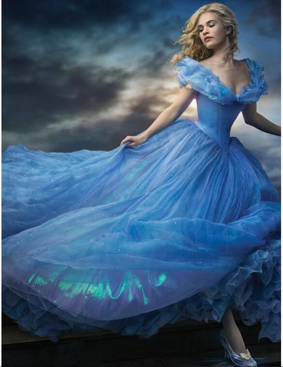 bfb6b5d1164 2015 Movie Cosplay Cinderella Wedding Dresses Off Shoulder Sky Blue  Cinderella Ball Gown Layered Appliques Sequins Dresses Bridal Gown Online  with ...