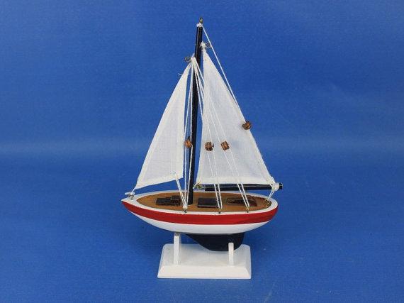 White Sail Red Rim 9 Sailboat Wedding Cake Topper Sail Boat Cake