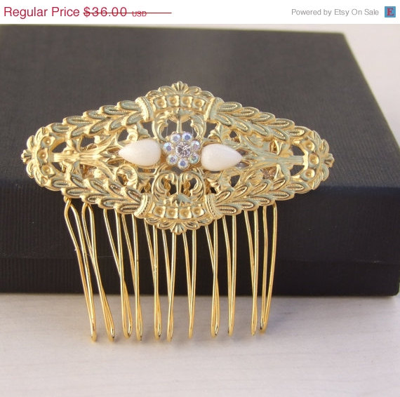 Свадьба - SALE Wedding Hair Comb, Crystal Hair Jewelry, Bridal Hair Comb, Filigree Hair Comb, Bridal Hair Accessory, Bridesmaid comb