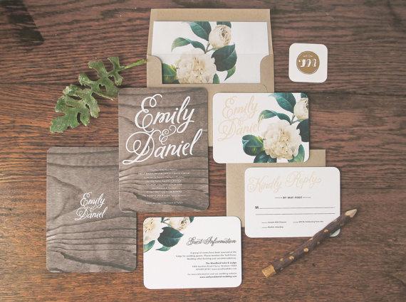 زفاف - Woodland Floral Wedding Invitation & Correspondence Set / Rustic Wood with Romantic Accents / Sample Set