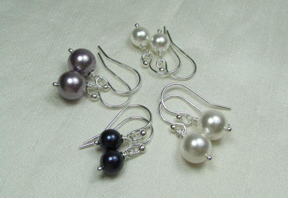 Mariage - Pearl Bridesmaid Earrings - Set of 4 Pair - Pearl Bridal Earrings - Wedding Jewelry - Bridesmaid Jewelry
