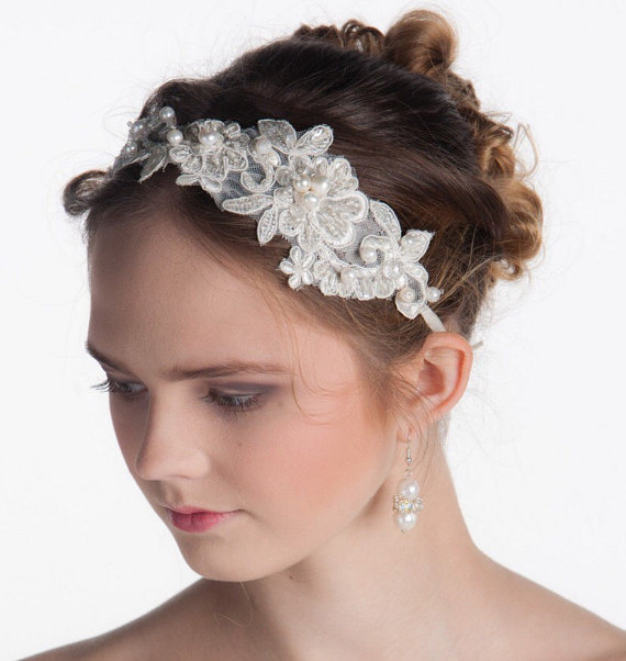 Floral Lace Headpiece For Wedding: Lace Headband, Bridal Headband, Flower Headband, Wedding