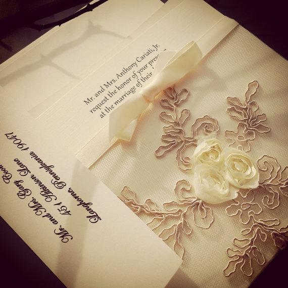 زفاف - French Lace Sleeve Wedding Invitation - 9 colors