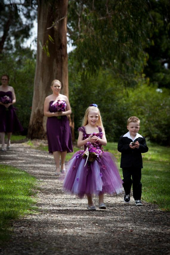 زفاف - Flower Girl Dress, Tutu Dress, Photo Prop, in Purple and Lavender, Flower Top, Tutu Dress