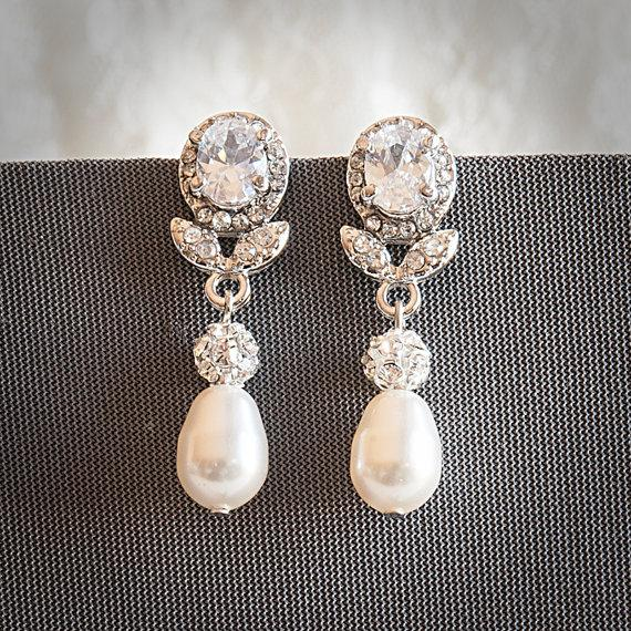 Wedding - Statement Bridal Earrings, Swarovski Teardrop Pearl Wedding Earrings, Art Deco Crystal Leaf Pearl Dangle Earrings, Wedding Jewelry, RUBIE