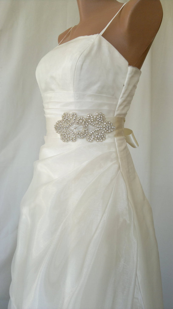 sultan rhinestone beaded wedding dress sash belt