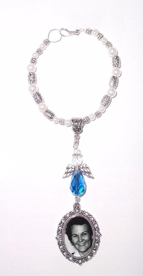 Wedding - Wedding Bouquet Memorial Photo Charm Something Blue Holy Angel Crystal Gems Pearls Tibetan Beads - FREE SHIPPING