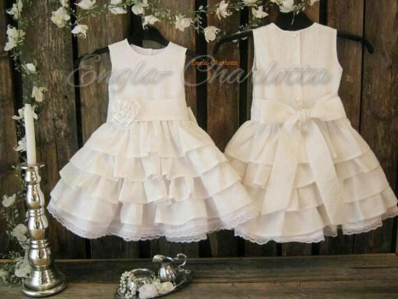 Wedding - White linen flower girl dress. White flower girl dress, country rustic flower girl dress. Toddler girls white linen dress. Girl ruffle dress