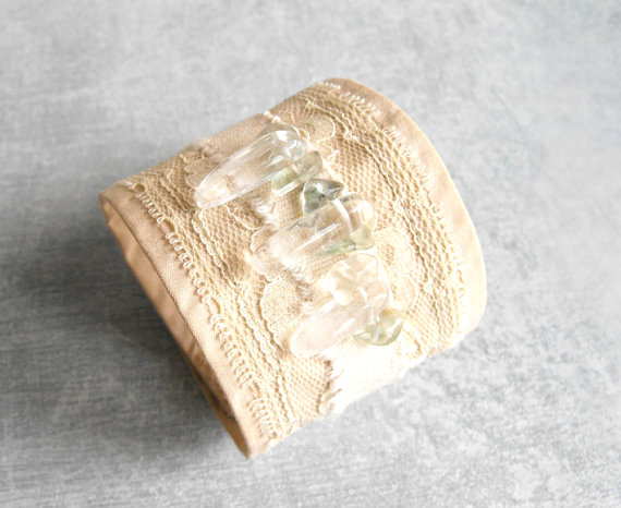 Wedding - Cotton and Lace Cuff Bracelet Bohemian Wedding Bracelet with Quartz Crystal sticks / Eco friendly Jewelry by Luluanne ~ ON SALE