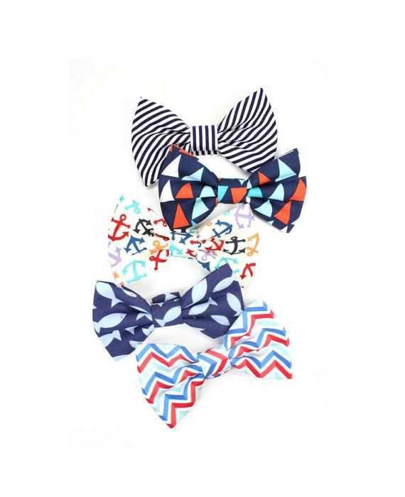 Mariage - Nautical Wedding Dog Bow Tie Cat Bowtie Beach Sailing Anchors Summer Chevron Stripes Navy Blue Red White