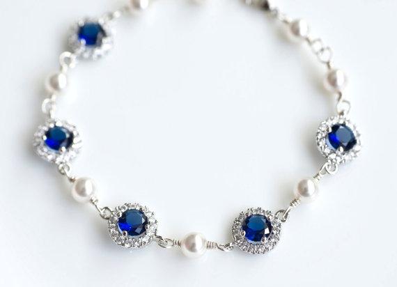 Свадьба - Bridal Bracelet, Blue Sapphire Bridal Bracelet, Something Blue Bracelet, Cubic Zirconia and Swarovski Pearl Bridal Bracelet, Wedding Jewelry