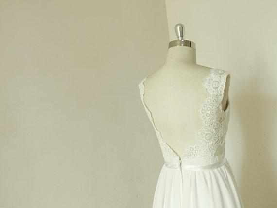 زفاف - Backless Wedding Dress, Sexy Wedding Dress, Lace Chiffon Wedding Bridal Dress with Waistband