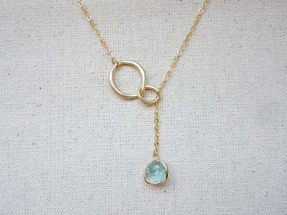 Свадьба - Gold lariat necklace, Interlocking circle and teardrop stone necklace, Eternity love lariat necklace, Wedding jewelry, Bridesmaid necklace