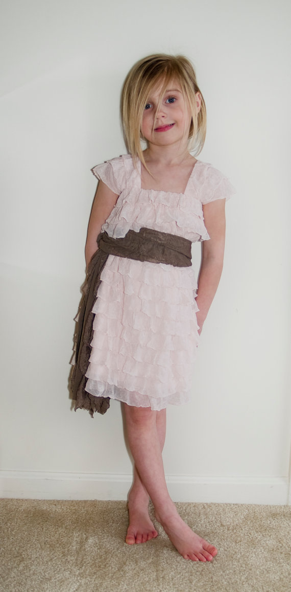 زفاف - Blush Pink Ruffle Flower Girl Dress with Taupe Sash, Bridesmaid Dress, Rustic Wedding Dress, Made to Order, Babies to 4T, 2 Inch Ruffle