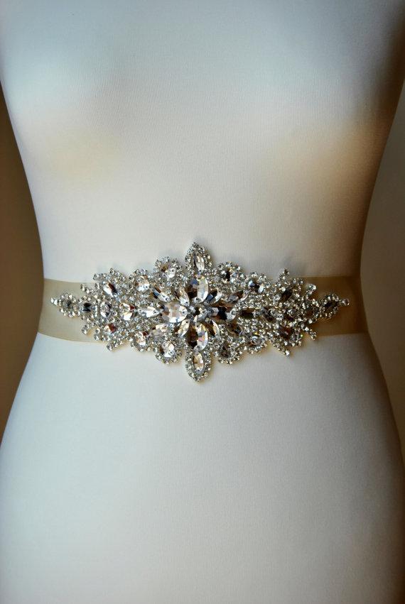 Свадьба - Luxury  Crystal Bridal Sash,Wedding Dress Sash Belt, Rhinestone Sash, Rhinestone Bridal Bridesmaid Sash Belt, Wedding dress sash