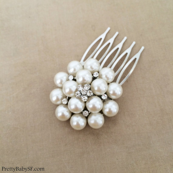 Hochzeit - Bridal Pearl Comb, Pearl comb, Bridal Pearl Hair Comb, silver crystal bridal hair accessories wedding crystal rhinestone ROUND MED