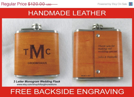 Mariage - 15% OFF SALE Set of 6 Personalized Flask for Groomsmen  Handmade Leather Flask - FREE Engraved Note on Backside