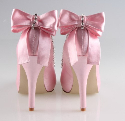 Wedding - Handmade soft pink bow crystal wedding shoes party shoes prom peep toe flush pumps