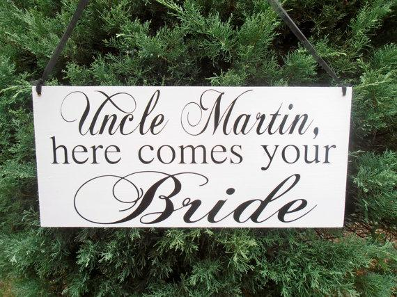 Hochzeit - Uncle here comes your bride 2 sided Double sided sign  Ring bearer Flower girl