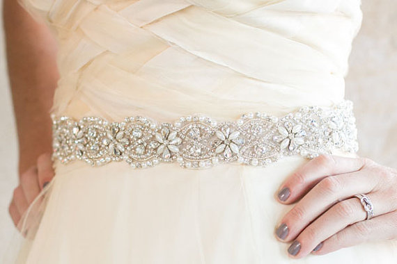 Floral Beaded Rhinestone Amp Pearl Wedding Sash Belt Bridal Sash Ivory White Pearls