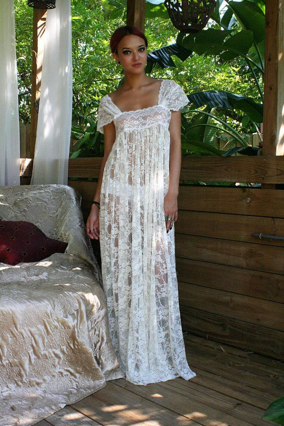 Свадьба - Sheer Lace Bridal Nightgown Wedding Lingerie Romance Boudoir Honeymoon Off Shoulder Drop Cap Sleeve Sleepwear