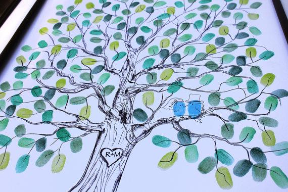 Original Wedding Gift Thumbprint Guest Book Tree Guestbook Ideas Fingerprint Alternative Custom Bw Birds