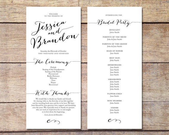 simple wedding program customizable elegant design simple