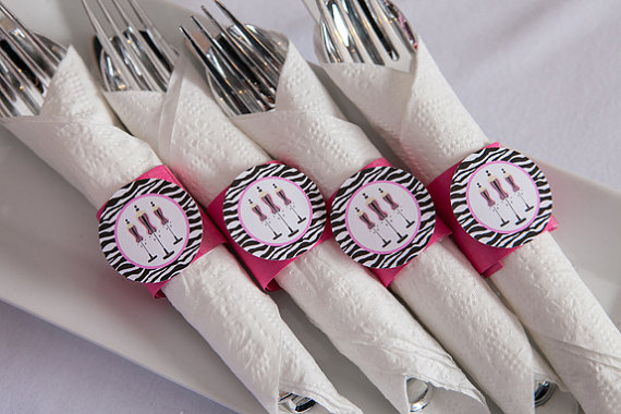 Hochzeit - Lingerie Shower Decorations - Napkin Rings - Silverware Wraps - Bridal Shower Decorations - Bachelorette Party in Hot Pink and Zebra