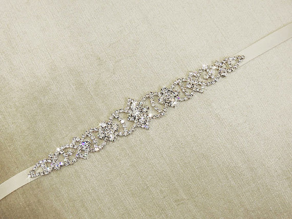 Pari wedding dress belt sash bridal gown rhinestone for Sparkly belt for wedding dress