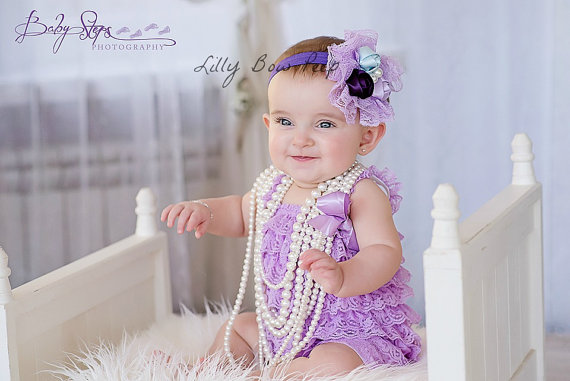 b25d76138b12 SET- Baby Girl Clothes - Newborn Girl Clothes-Baptism Dress-Flower Girl  Dress-Preemie-Lavender Lace Petti Romper   Flower Headband-Baby Girl