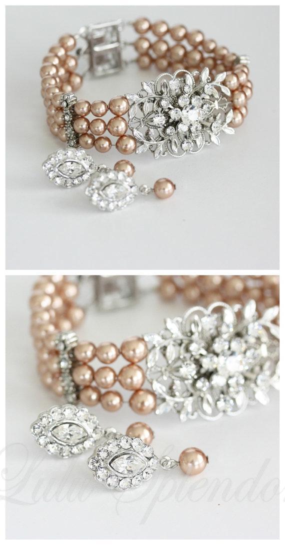 Mariage - Leaf Wedding Bracelet and Earrings Set Vintage Style Rose Gold Pearl Bridal Bracelet Wedding Jewelry GENOA