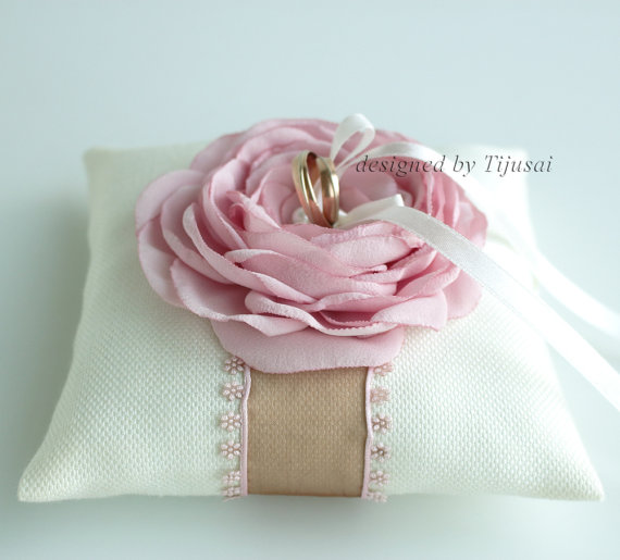 Ivory Wedding Ring Pillow With Pink Rose And Brown Ribbonwedding