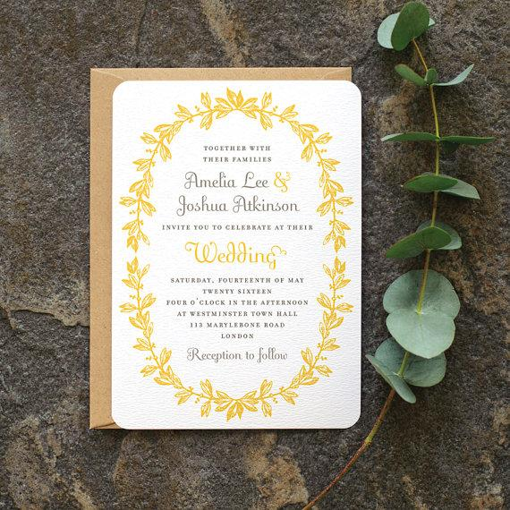Antique French Wedding Invitation Vintage Wreath Elegant Rustic Invite Yellow Grey Gray Custom Colors Available One Sample