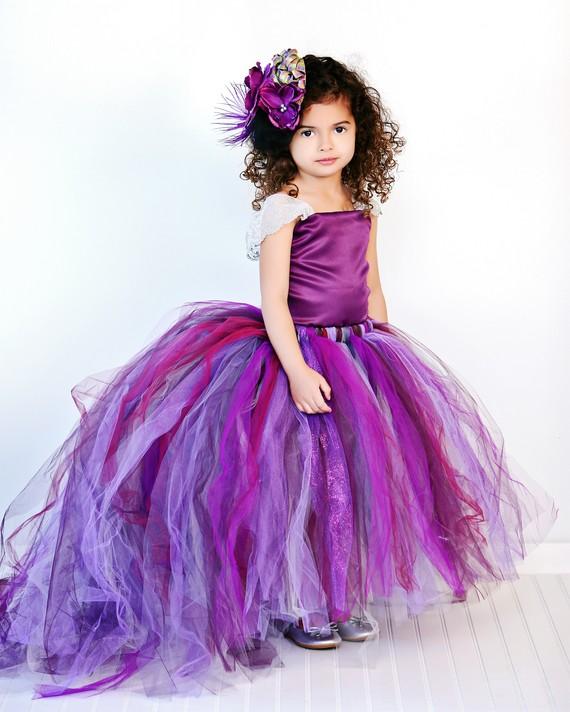 Hochzeit - Purple Flower Girl Dress w Detachable Train--Tulle Skirt--Satin Top Two Piece
