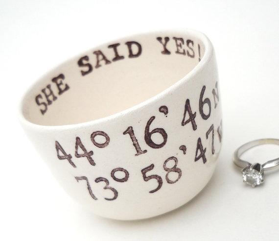 Hochzeit - LATITUDE LONGITUDE COORDINATES she said yes i said yes custom text engagement ring holder wedding ring dish honeymoon destination wedding