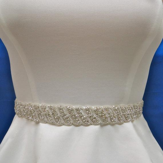 Hochzeit - Wedding Belt Sash, Bridal Belt Sash, Wedding Sash Belt, Bridal Sash Belt, Art Deco Applique, Swarovski Crystal Sash,  Swarovski Crystal Belt