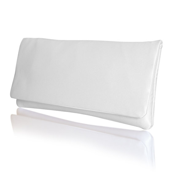 Mariage - Wedding clutch in plain satin Happily Ever after clutch purse