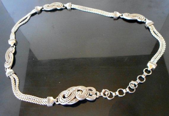 Hochzeit - Vintage Conch Belt Silver Sash Exotic Headband Wedding Tiara Necklace Flapper