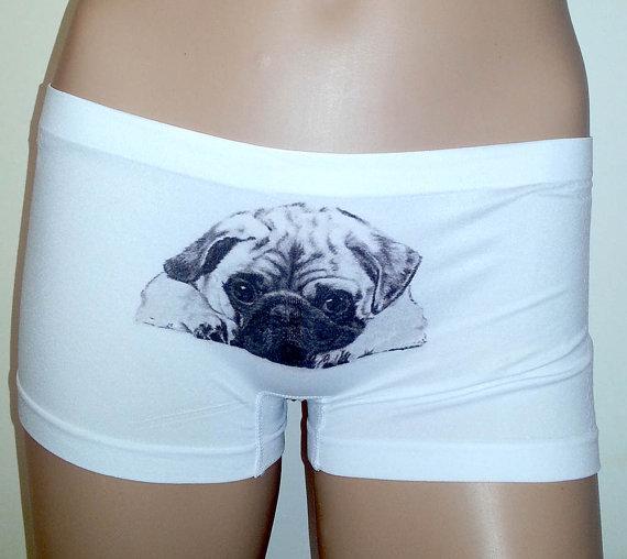 Mariage - Women Boxer Panties - PUG DOG -White size S / M / L / XL- Printed lingerie.