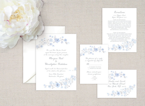 Mariage - Tiny Twigs Watercolor Wedding Invitation Suite - Set of 25