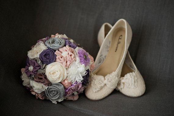 Свадьба - Purple bridal bouquet DEPOSIT custom wedding bouquet fabric flower bridal bouquet
