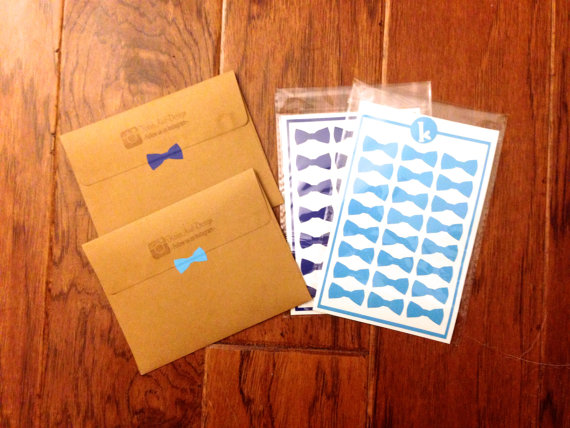 24 bow tie stickers bow envelope seals wedding invitations and