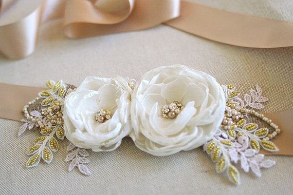 Bridal Flower Sash Wedding Dress Belt Burlap Champagne Ribbon Ivory Flowers Lace Gold Tan Pearls Rhinestones Rustic Vintage